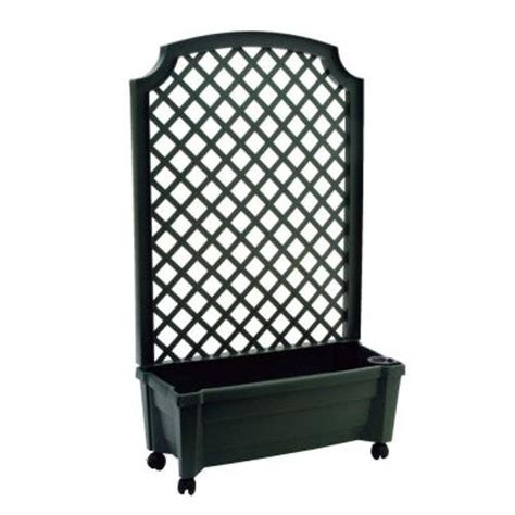 Plastic Garden Planters With Trellis by Calypso 31 In X 13 In Green Plastic Planter With Trellis