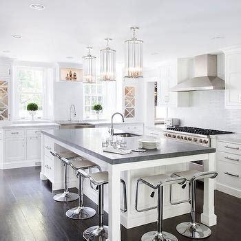 white kitchen island with pietra cardosa soapstone