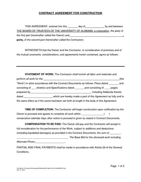 agreement contract template 7 contractor agreement sle timeline template