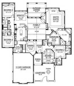 House Plans With 3 Master Suites The Kitchen Adn Master Suite Also The Desk In The Near The Kitchen House Plan