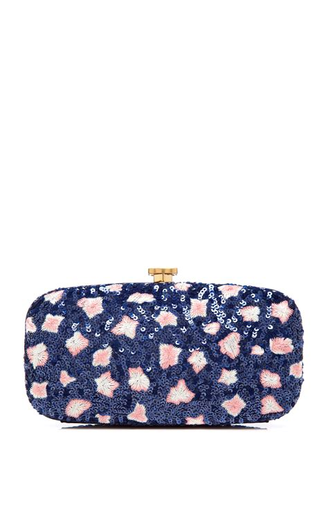 Oscar De La Renta Wicker Clutch by Lyst Oscar De La Renta Embroidered Goa Clutch In Blue