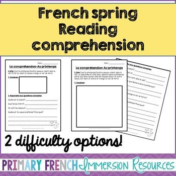 reading comprehension test in french french spring reading comprehension sheets by primary