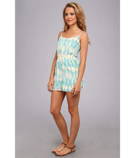 blue pattern romper roxy tainted love woven romper juniors in blue tile blue