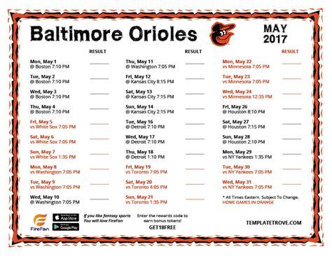 Orioles 2017 Schedule Printable printable 2017 baltimore orioles schedule