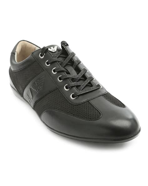 armani sneakers mens armani logo black leather sneakers in black for