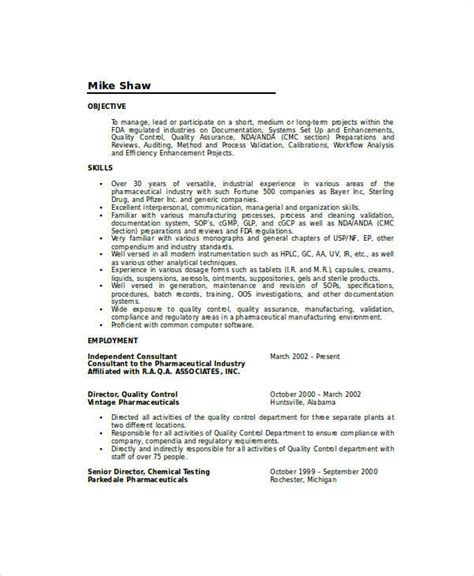 Quality Resume Skills by 9 Sle Quality Assurance Resumes Sle Templates