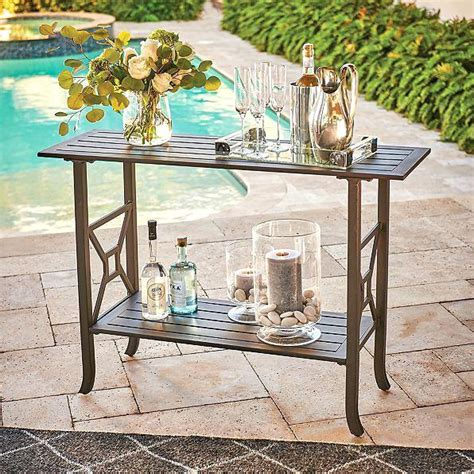 outdoor wrought iron console table outdoor console table ow micro mesh wrought iron x