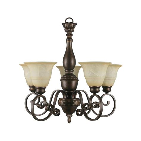 Hton Bay Chandelier Parts Hton Bay 5 Light Aged Bronze Chandelier With Tea Stained Glass Shade 15670 The Home