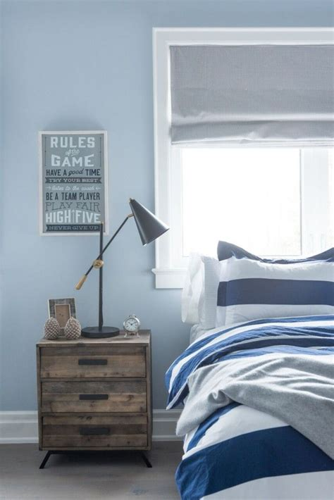 Blue Bedroom Blinds Boy S Blue Bedroom With Striped Navy And White Bedding
