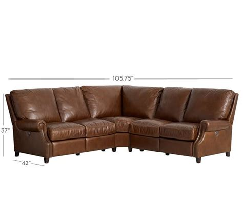 l shaped leather sectional james leather 3pc l shaped corner sectional pottery barn