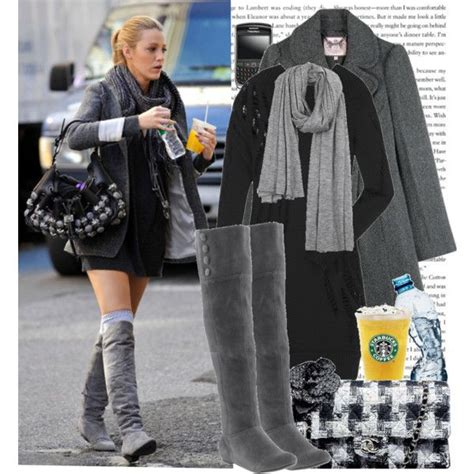 Found Serena Der Woodsens Grey Suede The Knee Boots by Black Knit Dress Gray Coat Big Scarf The Knee