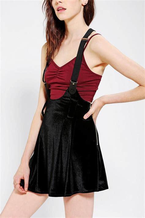 Amanda Overall Skirt unif dropout velvet overall skirt urbanoutfitters start