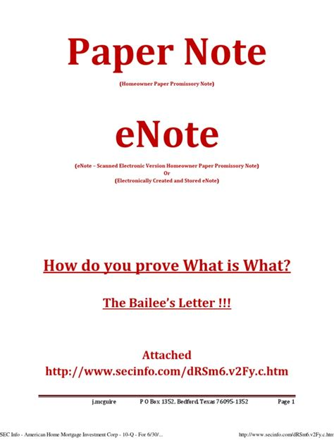 Mortgage Bailee Letter Paper Enote Bailee Letter Mortgage Loan Assignment