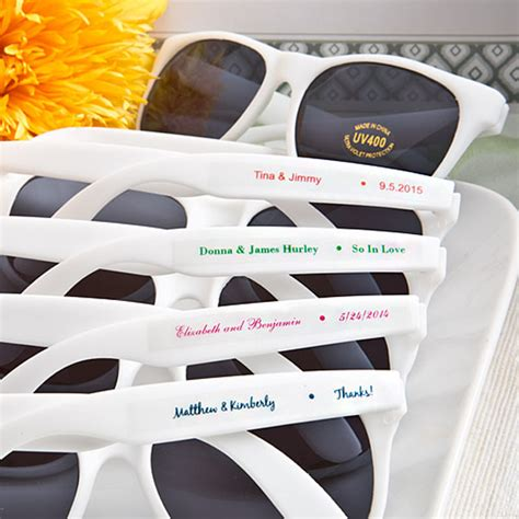 Personalized Wedding Giveaways - wedding sunglasses personalized with names and wedding date
