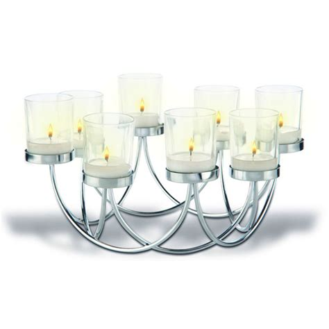 tea light table l 8 glass chrome tealight holder table centrepiece candle