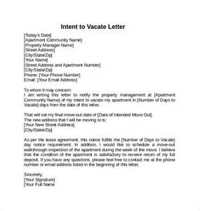 letter to vacate template intent to vacate letter 7 free sles exles formats