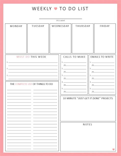 printable planning sheets weekly to do list 1 sheet printable organization by