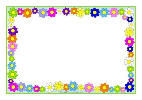 Brightening Day Pagi Ms Glow flowers a4 page borders sb10393 sparklebox frames
