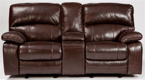 Glider Reclining Loveseat With Console by Damacio Brown Glider Power Reclining Loveseat With