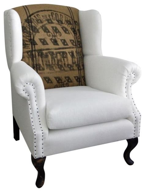Wingback Chair Linen And French Jute Eclectic Houzz Living Room Chairs