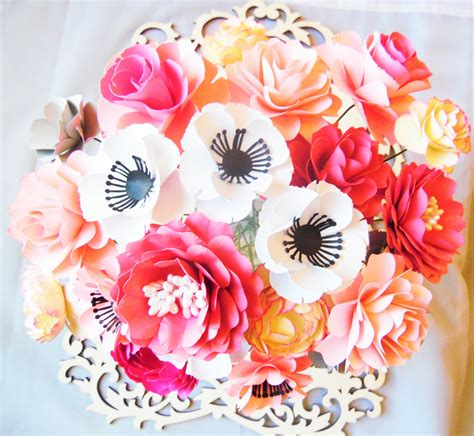 paper flower bouquet pattern paper flower template paper flower diy wedding bouquet