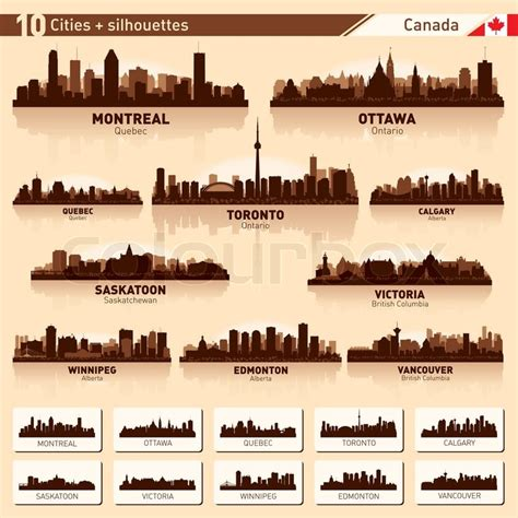 tattoo edmonton downtown city skyline set 10city silhouettes of canada 1 stock