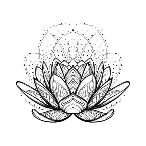 tatuaggio fiore di loto stilizzato illustrazione di zen fiore di loto disegno lineare