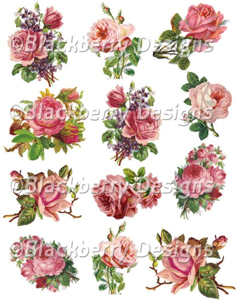 Decoupage Flowers - pink vintage roses decoupage paper collage sheet