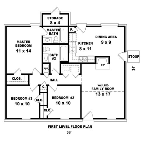 free 3 bedrooms house design house 32141 blueprint details floor plans