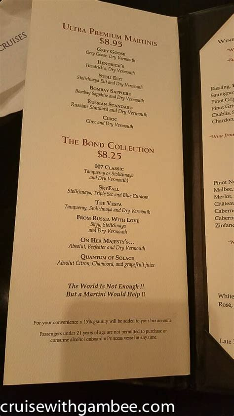 martini price celebrities for celebrity cruise bar menu cost 2013 www