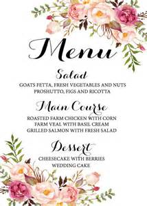 Menu Templates For Weddings by 17 Best Ideas About Wedding Menu On Menu Cards