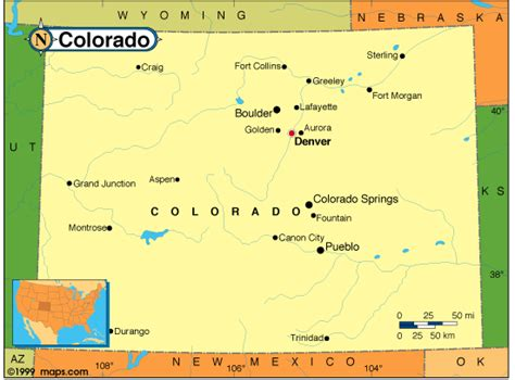 colorado in usa map colorado map