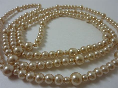 Styles That Stick Strand Of Pearls by Vintage Strand Beige Faux Pearl Necklace Great Gatsby
