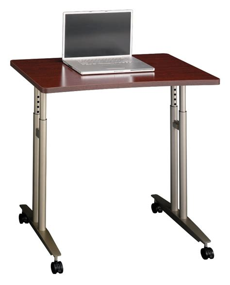 Series C Mahogany Adjustable Height Mobile Table From Bush
