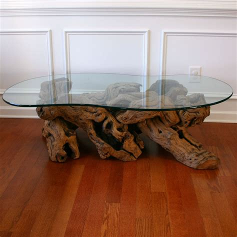 Driftwood Coffee Table With Glass Top Cocktail Beach Zen Glass Top Driftwood Coffee Table