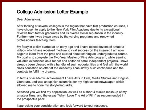 application letter for a college course letter for admission