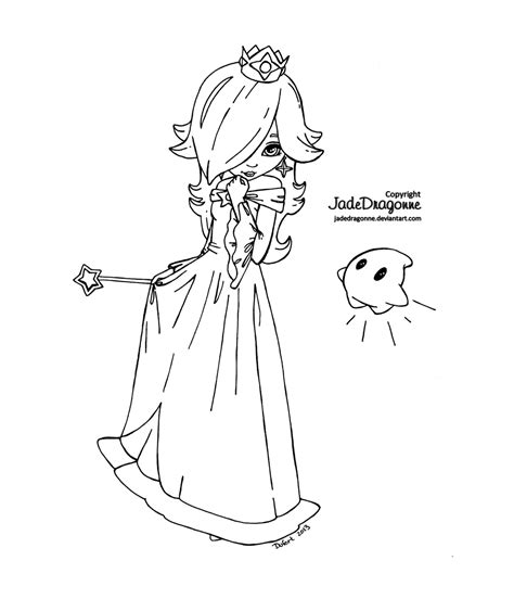 mario coloring pages princess princess rosalina from mario lineart by jadedragonne on