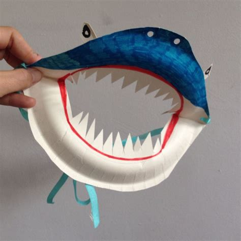 Mask From Paper Plates - paper plate shark mask shark