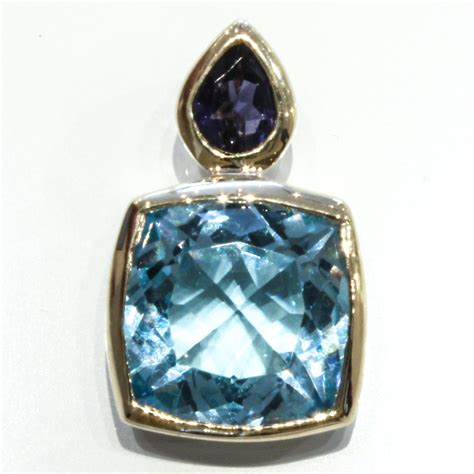 Handmade Silver Jewellery Melbourne - unique blue topaz and iolite handmade gold pendant
