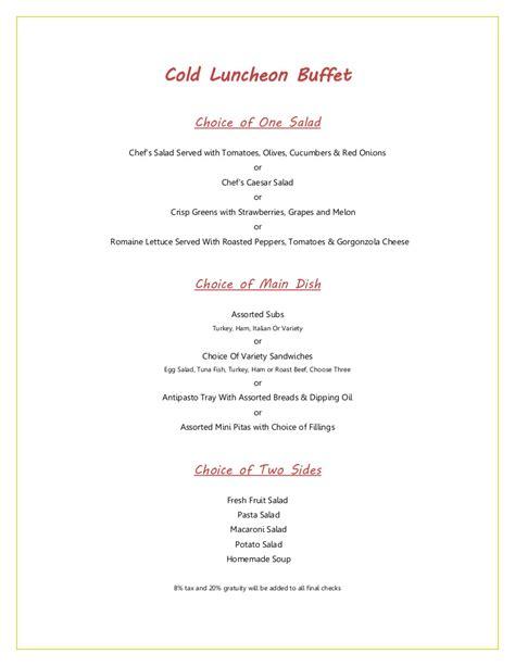 Island Ideas For Kitchen cold luncheon buffet menu