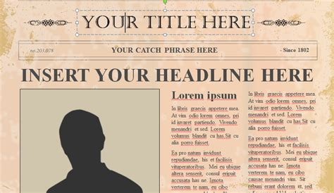 Image Gallery Old Newspaper Template Editable Editable Newspaper Template