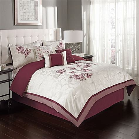 burgundy bed set buy melrose 6 piece twin comforter set in burgundy from