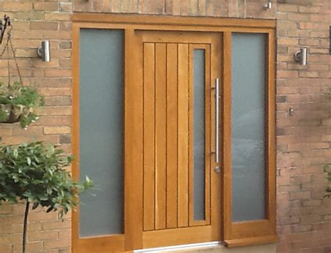 Wooden Front Doors External Solid Oak Glazed Exterior Front Doors Hardwood