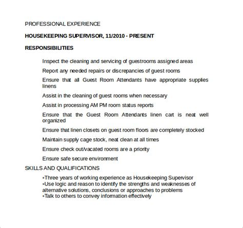 Housekeeping Supervisor Resume by 12 Sle Housekeeping Resumes Sle Templates