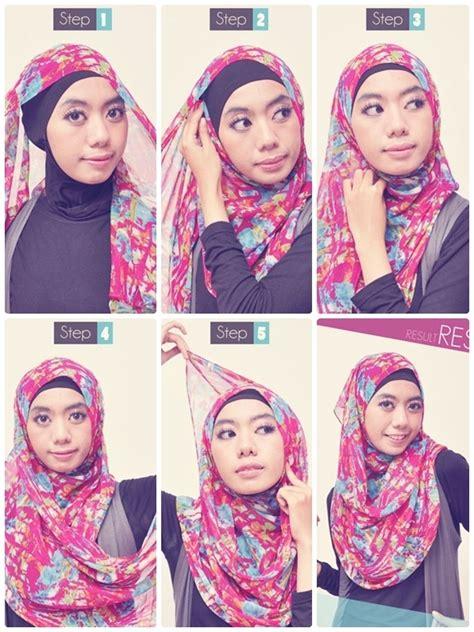 tutorial  memakai jilbab segi empat modern  trendy