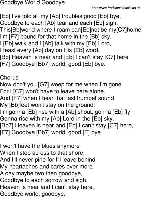 Old time song lyrics with guitar chords for Goodbye World