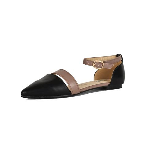 Flatshoes Smith Import 5 black pointed toe flat shoes with panel and ankle ebay