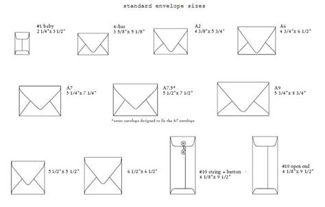 printable envelope size chart standard envelope sizes jpg 816 215 523 pixels craft ideas