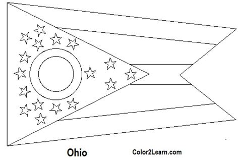 state of ohio flag and map coloring pages