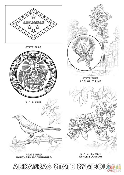 arkansas state symbols coloring page free printable